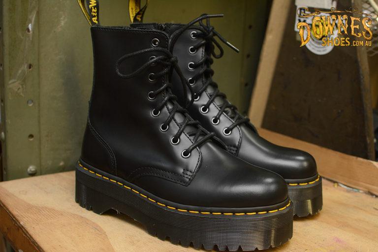 Jadon Black Smooth 8 eye Platform Boot