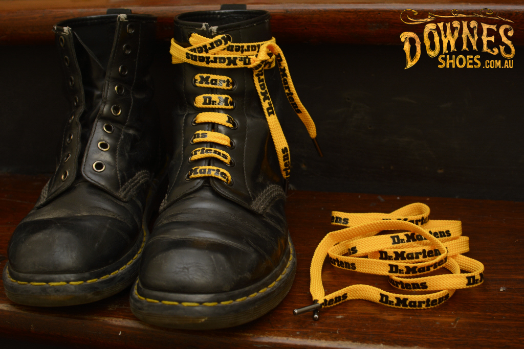 dr martens black and yellow laces Dr
